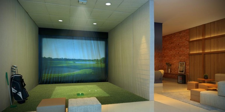 essenza moema-perspectiva-ilustrada-do-lounge-adulto-com-simulador-de-golfe